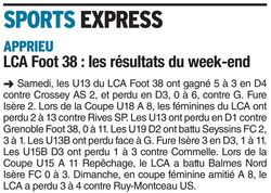 LCA Foot 38, les résultats du week-end