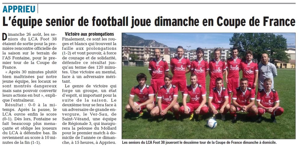 L'équipe senior de football joue dimanche en Coupe de France