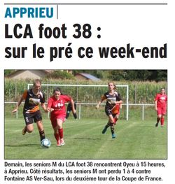 LCA Foot 38 : sur le pré ce weekend