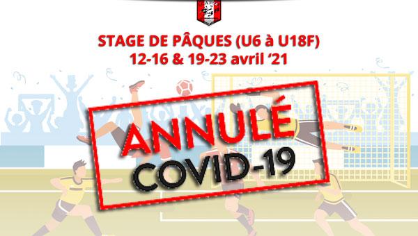 Covid 19 - Stage de pâques annulé - entrainements suspendus !